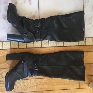 """Shoes - Black pleather 4"""" heel combat Moto heel knee highs"""